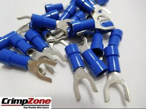 25 PC 16-14 BLUE 3M HEAT SHRINK #6 SIZE FORK SPADE TERMINAL MADE IN USA