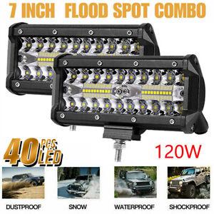 2x-7-034-120W-LED-Arbeitsscheinwerfer-Scheinwerfer-Offroad-Auto-SUV-Flutlicht-Lampe