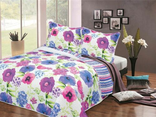 WATERCOLOUR BEDSPREAD QUILT COMFORTER DOUBLE BED THROW QUILTED 240cm X 260cm