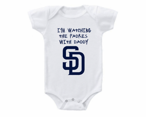 San Diego Padres Onesie Bodysuit Shirt Shower Gift Watching With Daddy
