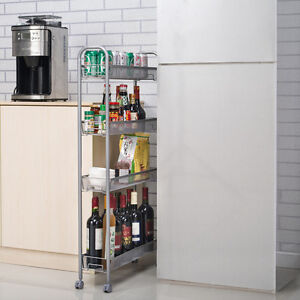 Details about 4-Tier Gap Kitchen Slim Slide Out Storage Tower Rack with  Wheels, Cupboard