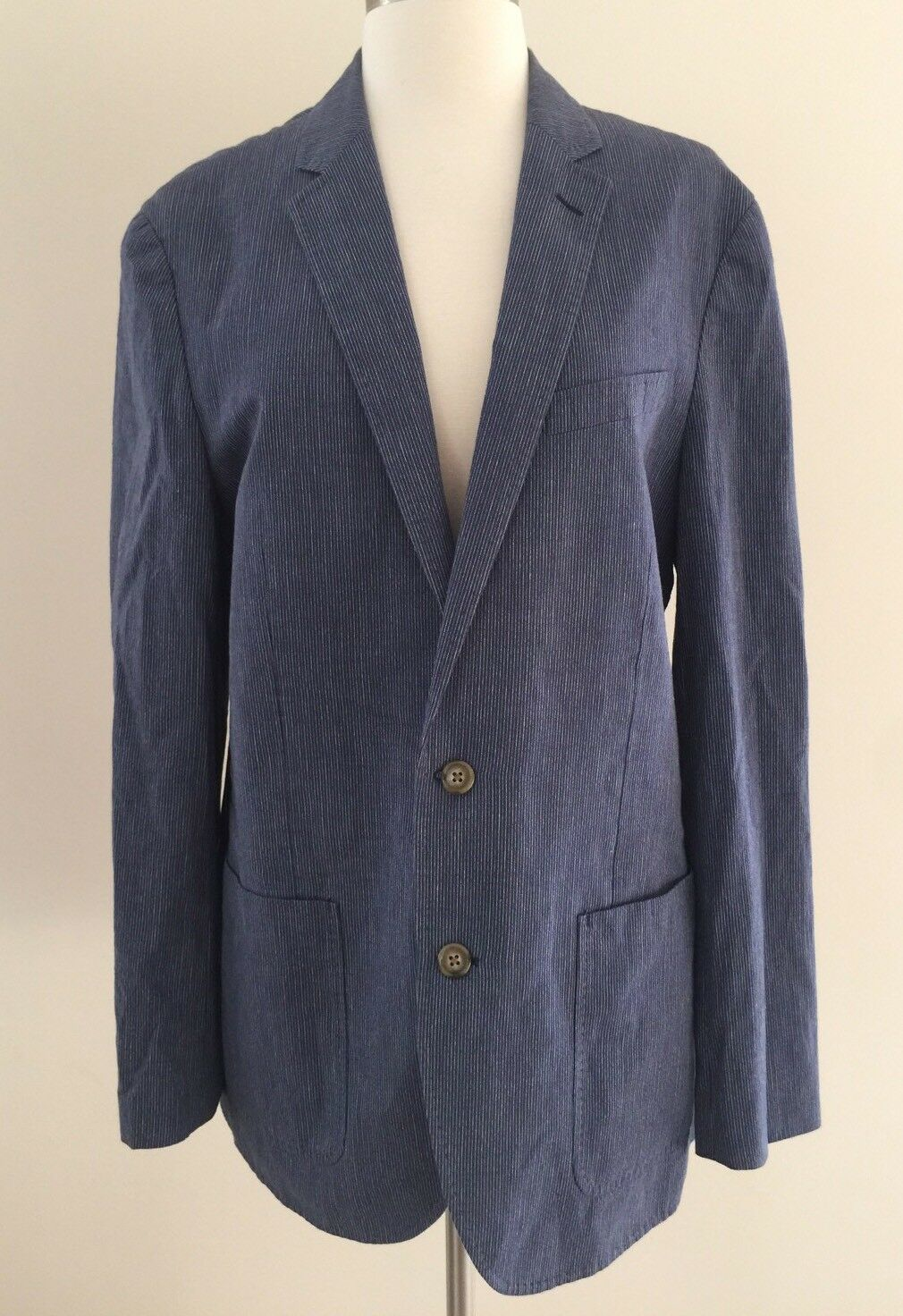 JCrew Ludlow summerweight cotton-linen blazer navy fine stripe F0529 40R NEW