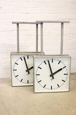Large Industrial Modernist Double Sided Platform Clocks By Pragotron Circa 1960s