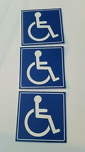 Handicap  Logo Sign Decal  Sticker (set of 3  ) 5x5 in. #3