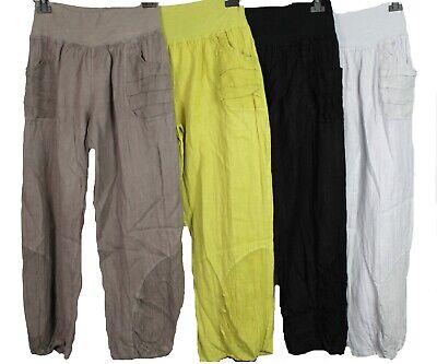 NEW Italian Lagenlook 2 Pocket Boho Linen Harem Baggy Plain Ladies Trousers