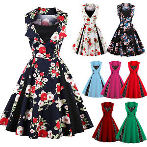 Womens-50s-60s-Retro-Rockabilly-Pinup-Swing-Dress-Floral-Evening-Party-Plus-Size