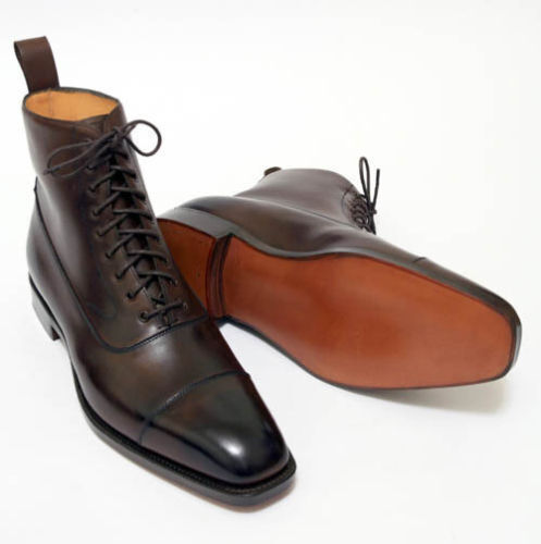 Dark Coffee Brown Leather Ankle High Boots Handmade Cap Toe Boots Fashion Men