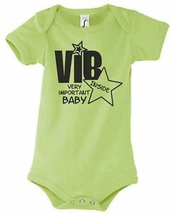 Persevering Baby Body Strampler Geburt Geschenk Textil Druck Tag Vib Vip Inside Stern Star 6 Clear And Distinctive One-pieces