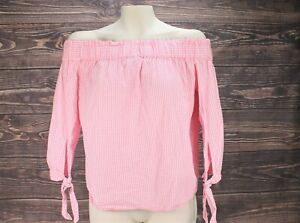 Women-H-amp-M-Off-Shoulder-Pink-Gingham-Top-Blouse-Checkered-Size-2-100-Cotton