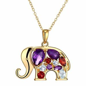 Finecraft Natural Amethyst Garnet & Topaz Elephant Pendant Necklace With Diamond in 18k