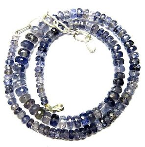 """Natural Iolite Gemstone Rondelle 140 CT Faceted Beads 19.5"""" Necklace 4.5-9 mm S2"""