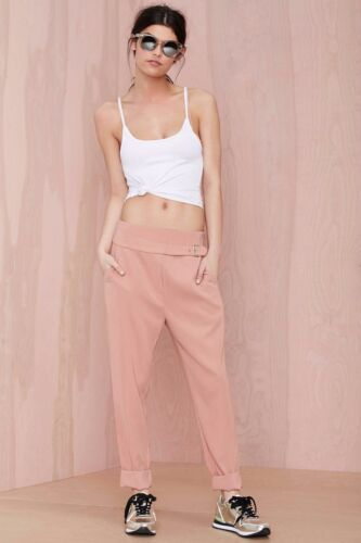 Nasty Gal Women/'s Pink Leg Up Belted Trouser