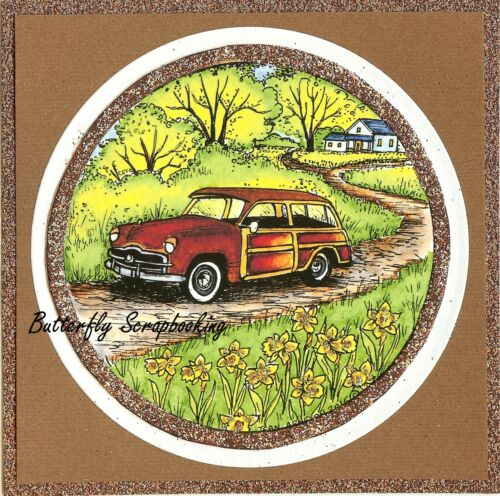 CLASSIC CAR IN CIRCLE FRAME Wood Mounted Rubber Stamp NORTHWOODS PP10026 New