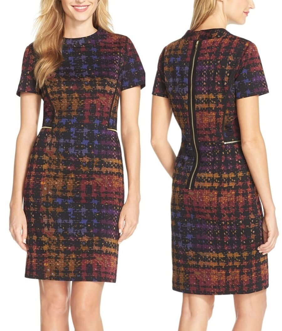 Tahari 5220M184 schwarz Dijon Iris Plaid Print Stretch Ponte Sheath Dress -