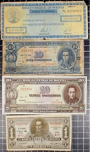 Bolivia Bank Note lot of 4 World Foreign World Currency Latin America 1940's