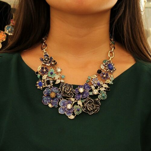 Collier Femme Fleur Bleue Feuille Verte  Cristal Original Mariage Cadeau QT 4