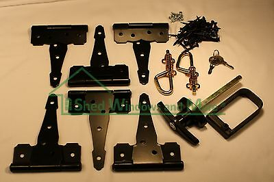 "Shed Door Hardware Kit 6"" Colonial Hinges, T-Handles, Barrel Bolts, Barn Door"