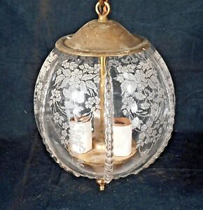 VINTAGE-MID-CENTURY-CLASSICAL-ETCHED-GLASS-MELON-SHAPED-HANGING-LIGHT