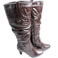 Womens BOOTS Knee High CLARA BARSON Brown Side Zipper Medium Width SIZE 6-8.5