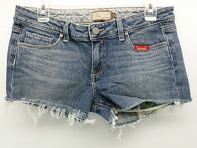PAIGE PREMIUM DENIM 20 Laurel Canyon Cut-Off Denim Jean Shorts Patches Sz 30