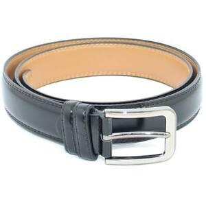 Cintura Uomo Cintura Regolabile Pellame Lucido Abrasivato Nero Tinta Unita con F