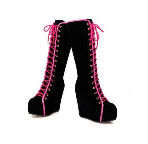 Womens Lace Up Platform Hidden Wedge Heel Shoes Suede High Heels Knee High Boots