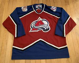 Colorado-Avalanche-Vintage-90-s-Stitched-CCM-Authentic-Hockey-Jersey-XL-Rare-EUC