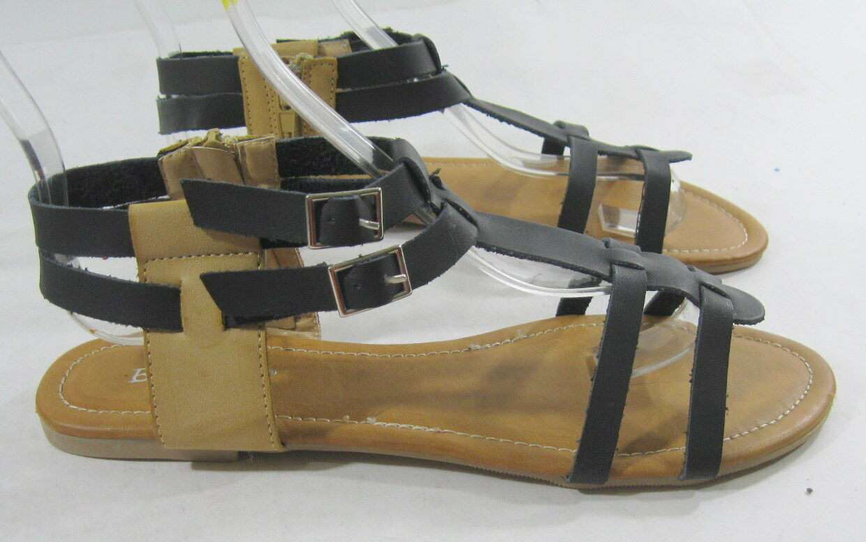 Summer Black/Skintone Womens Shoes Roman Size Gladiator Flat Sexy Sandals Size Roman 7.5 90beed