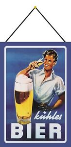 Cool Beer Tin Sign Shield with Cord Metal 20 X 30 CM F0327-K
