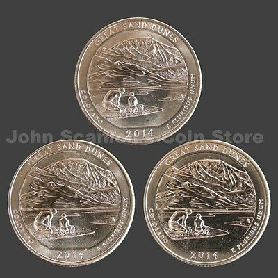 2014 P-D-S SET GREAT SAND DUNES NATIONAL PARK QUARTERS UNCIRCULATED FROM US MINT