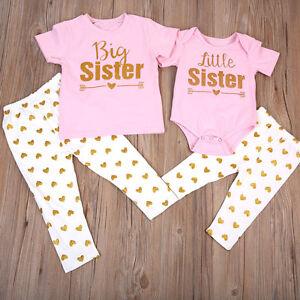 c338c2e4cf78 UK Sister Matching Clothes Big /Little Sister T-shirt Romper+Long ...