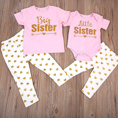 UK Newborn Baby Girl Clothes Cotton Little Sister Tops Romper Pants Long Outfits