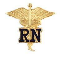 Blue Rn Caduceus Lapel Pin Nurse Gold Plated Emblem Safety Catch 1021