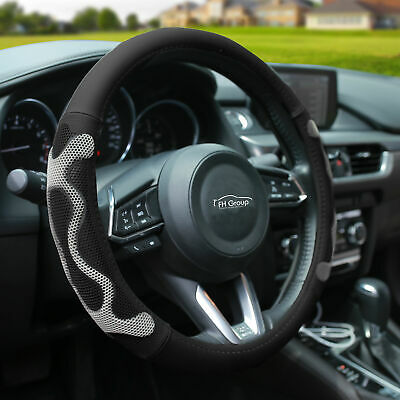 Gray CAR-GRAND Universal Weave Craft PU Leather Steering Wheel Cover,Fit for Car,Truck,SUV,Vans,Anti-Slip/&Odor-Free