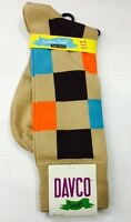 Davco Brown Tan Orange Blue Big Block Socks Sox Fits Shoe Size 6-12