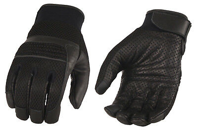 Men's Leather & Mesh Racing Gloves with Gel Palm, Reflective Piping Wrist Strap