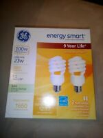 Ge 2pk- 23w Energy Smart Bulb Replacement 100w 1650 Lumens Instant On-no Tax
