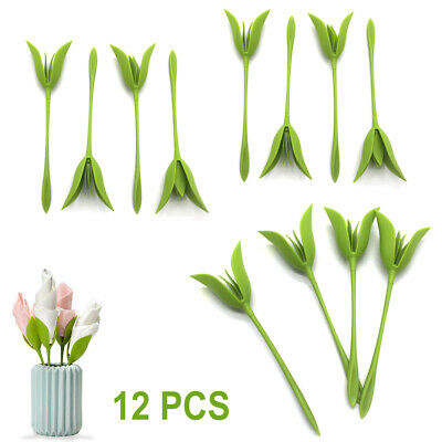 6PCS Bloom Napkin Holders Table Green Twist Flower Buds Serviette Holder Set-US