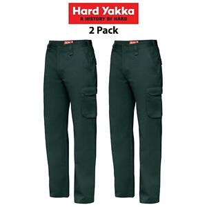 Mens-Hard-Yakka-Cargo-Pants-2-PK-Gen-Y-Cotton-Drill-Work-Tough-Heavy-Duty-Y02500