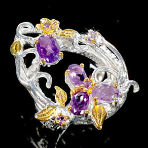 Handmade-Natural-Amethyst-925-Sterling-Silver-Ring-Size-7-75-R111787