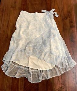 7a45f2ce7 Abercrombie & Fitch Women Wrap Skirt L Chiffon Light Blue Floral ...