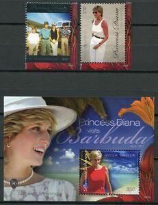 Antigua 2011 Lady Diana Rend Visite à Barbuda Royalty Brit. Famille Royale Tamponné Neuf Sans Charnière Parfait Dans L'ExéCution