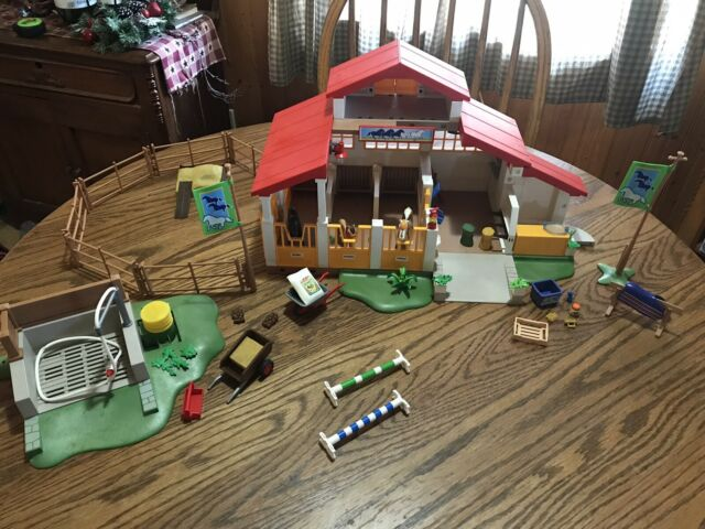 Playmobil 4190 Horse Farm Barn Stable And 4193 Horse Wash  Missing A Few Pieces