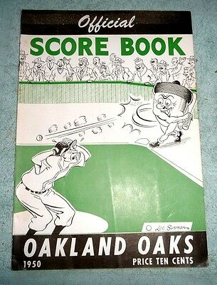 BASEBALL OAKLAND OAKS OFFICIAL SCORE BOOK  1950
