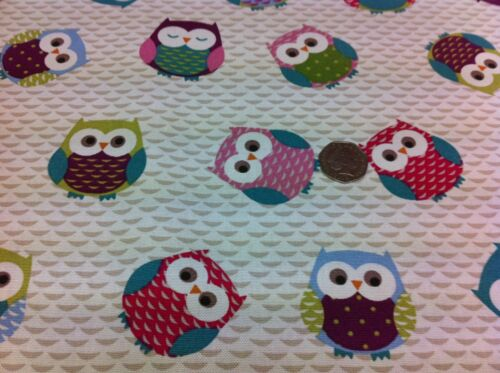 FRYETT`S Cotton OWLS Mulitcoloured Fabric for Curtain//Upholstery,Crafts,Quilting