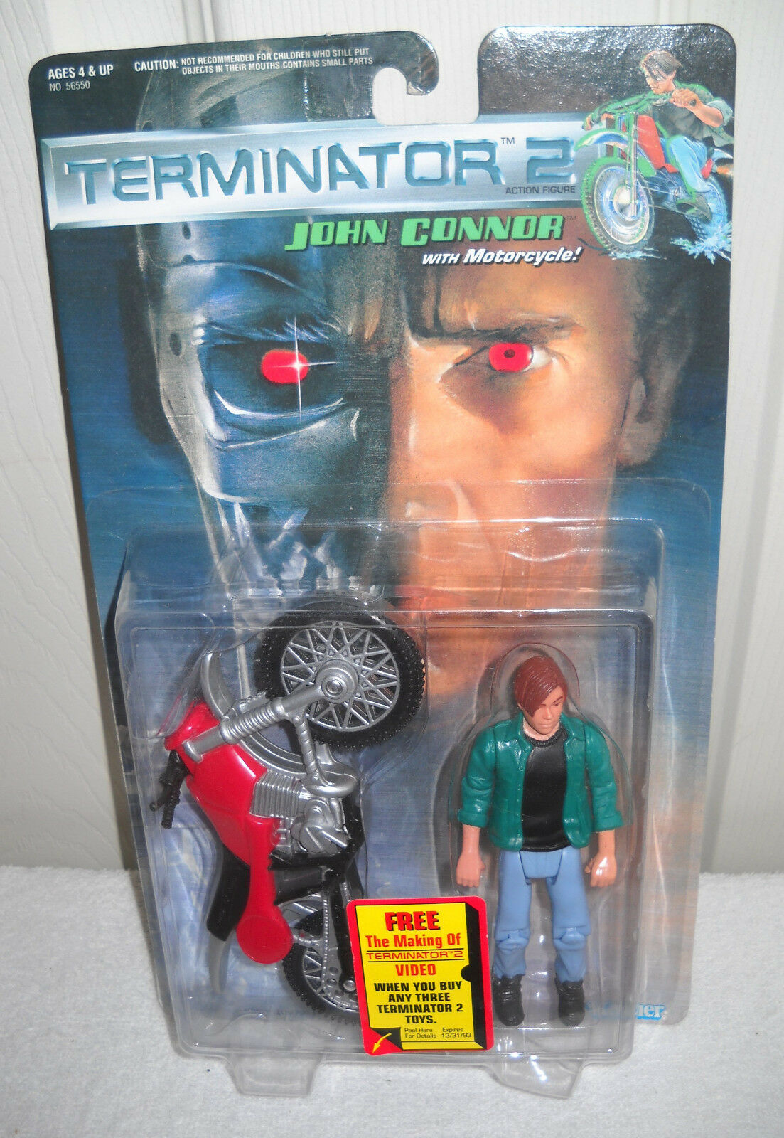 3696 RARE NRFC Vintage Kenner Terminator 2 John Connor with Motorcycle
