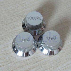 Chrome-Guitars-Strat-Control-Knob-1-Volume-2-Tone-For-Fender-Stratocaster-TW