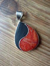 Silvertone 37mm Lava Stone & Red Jasper Yin Yang Tear Drop Pendant Boho Hippie
