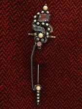 VTG FLORENZA Sword Scabbard Chatelaine Givre Rhinestone Art Glass Pin Brooch