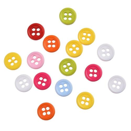 500 Pcs Mixed Colors Resin Buttons Fit Sewing or Scrapbooking 9mm N0135